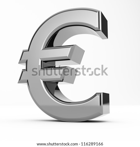 Rendering of a metal euro isolated on white background