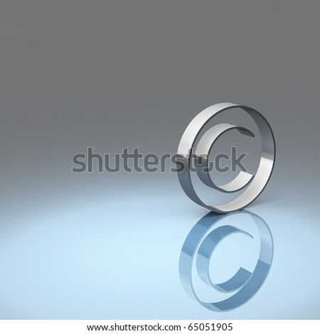 Rendering of a metallic copyright symbol with blue and grey background