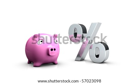 Rendering of a pink piggy-bank looking to a percent sign