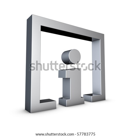 Rendering of a silver info symbol on a white background