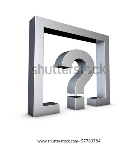 Rendering of a silver Question Mark on a white background