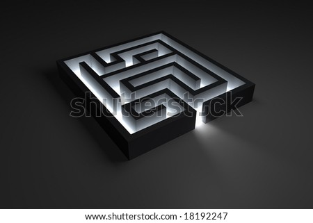 Rendering of a small maze with shiny entrance