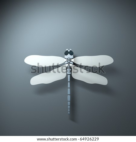 Rendering of a stylized dragonfly form above