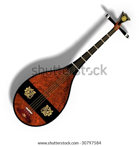 Rendering Of A Tradtional Japanese Lute With Clipping Path ...