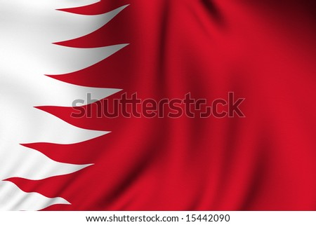 Rendering of a waving flag of Bahrain with accurate colors and design and a fabric texture.