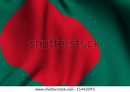 Rendering of a waving flag of Bangladesh with accurate colors and design and a fabric texture.
