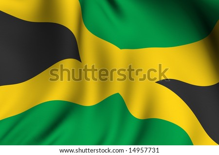 Rendering of a waving flag of Jamaica with accurate colors and design.