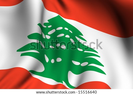 Rendering of a waving flag of Lebanon with accurate colors and design and a fabric texture.