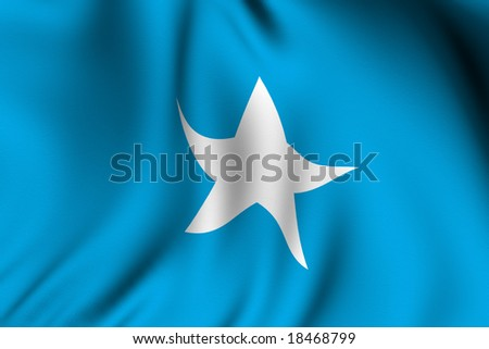 Rendering of a waving flag of Somalia with accurate colors and design and a fabric texture.