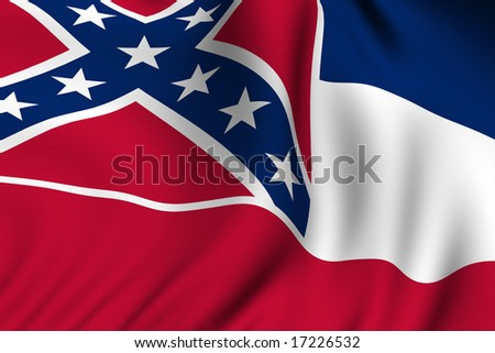 Rendering of a waving flag of the US state of Mississippi with accurate colors and design and a fabric texture.