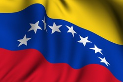 Rendering of a waving flag of Venezuela with accurate colors and design.