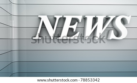 Rendering of a white news text in a room