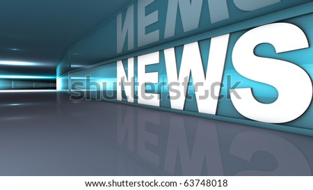 Rendering of a white news text in a tunnel