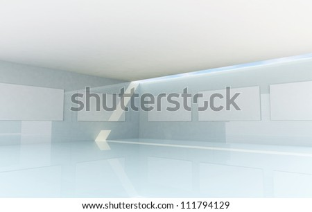 Rendering of Abstract Gallery Interior, futuristic architecture