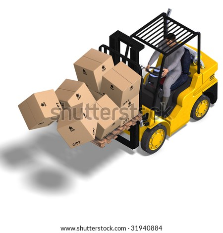 rendering of an accident with a forklift. With Clipping Path and shadow over white