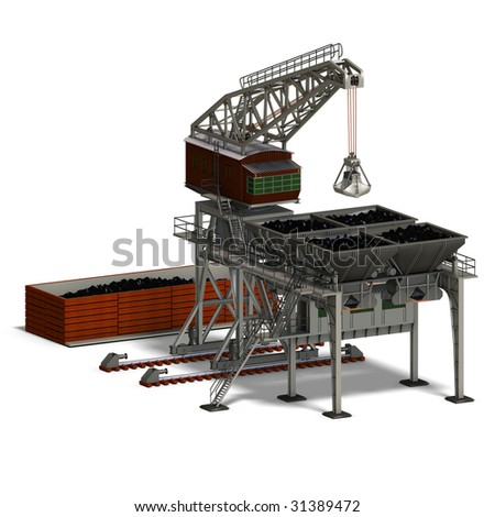 rendering of an industry crane with Clipping Path and shadow over white