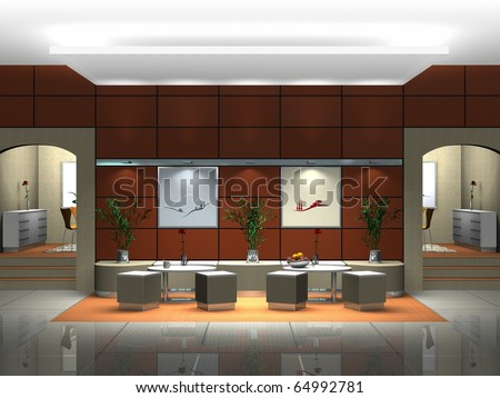 Rendering of an interior scene showing a lounge or restaurant