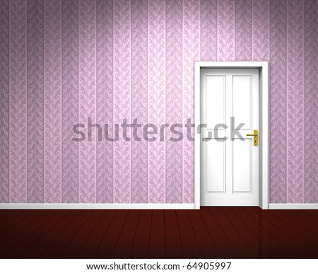 pink wallpaper room. an old empty room with a
