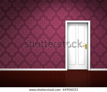 Rendering of an old empty room with a white wooden door and vintage purple wallpaper