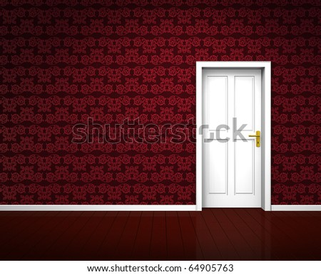 Rendering of an old room with a white wooden door and vintage red wallpaper