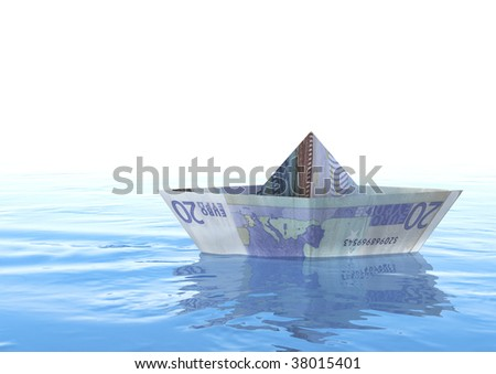 Rendering of An twenty euro origami boat on the sea