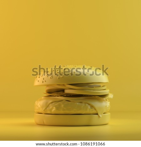 Rendering of burger. 3D design mockup. All objects and background painted in one bright colour. Full monochrome illustration. Total yellow color.
