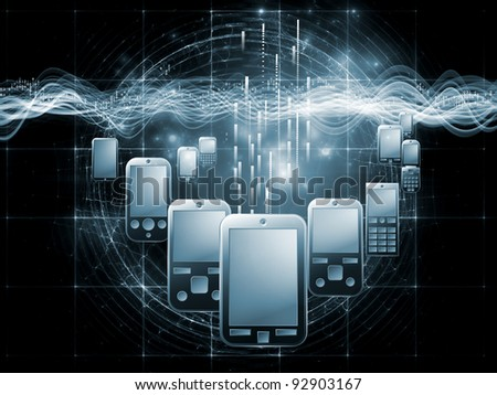 Rendering of cellular phones, numbers and abstract design elements on the subject of digital phone technology, cellular communication and modern electronic gadgets