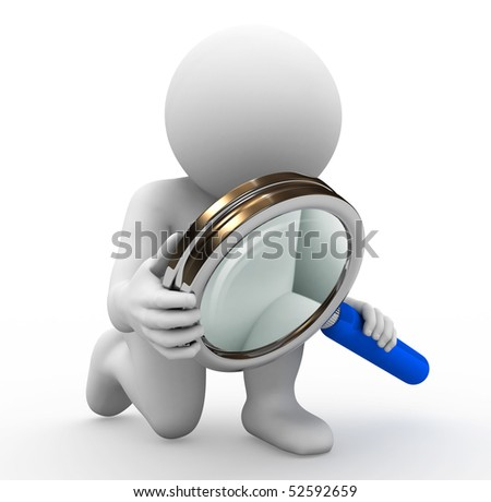 rendering of character with magnifying glass