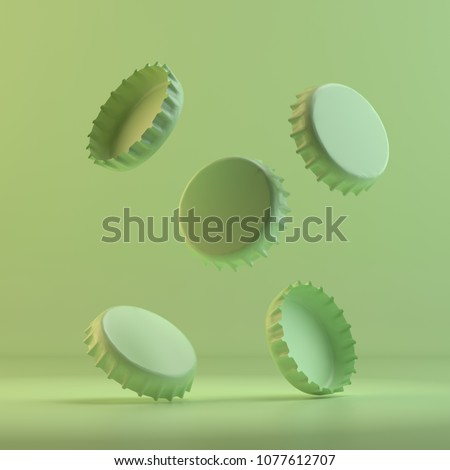 Rendering of five beer lids. 3D design mockup. All objects and background painted in one bright colour. Full monochrome illustration. Total green color.