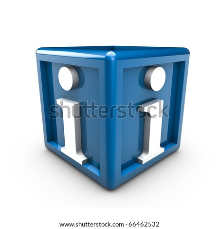 Rendering of info symbols on a blue cube