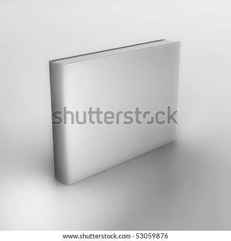 Rendering of the blank book over neutral gray background.