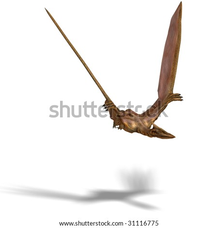 rendering of the flying dinosaur Quetzalcoatlus With Clipping Path and shadow over white