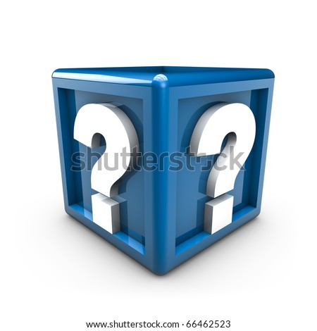 Rendering of two question mark on a blue cube
