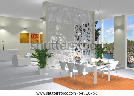 Rendering showing a modern interior scene with open living and dining room
