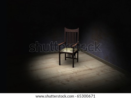 Rendering showing an empty dark and frightening room with a chair in the corner