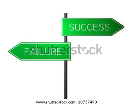 rendition of success and failure signs isolated against white background