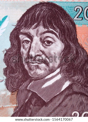 Rene Descartes a portrait from French collector's banknote  Foto stock ©