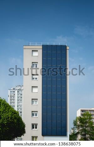 Renewable, alternative solar energy, photovoltaic cell - sun-power plant on a residential building