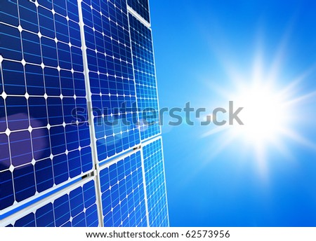 Renewable, alternative solar energy, sun-power plant on sky background