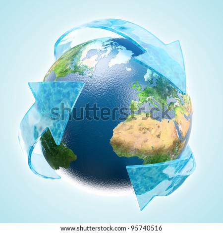 Renewable development concept - Earth globe with water arrows