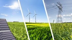 Renewable energies concept collage with solar panel wind mills and electrical energy infrastucture