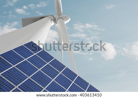 Renewable energies solar photovoltaic panel and windmill for electric energy