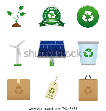 Renewable energy and recycle icon. Vector available.