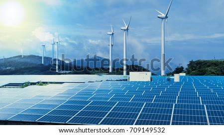 renewable energy conceptual visual. wind power plant and solar power plant. #709149532