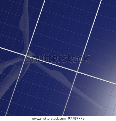 Renewable energy image with solar panel and wind turbine reflection