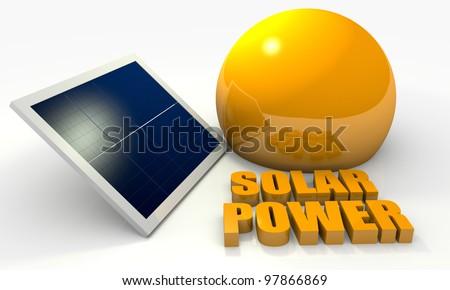 Renewable energy image with solar panel on white background - stock photo