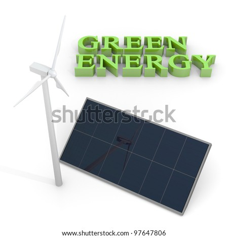 Renewable energy image with wind turbine and photovoltaic panels