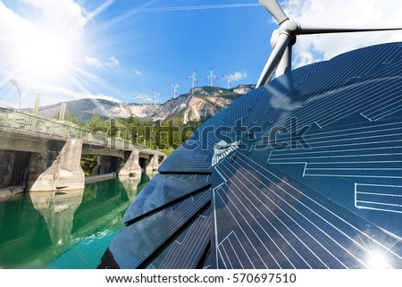 Renewable Energy - Sunlight with solar panel. Wind with wind turbines. Water with dam for hydropower #570697510