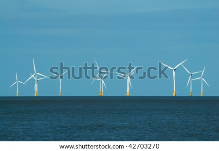 Renewable energy - wind turbines at Scroby Sands, Great Yarmouth (UK)