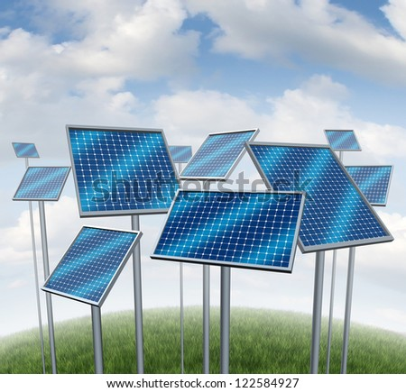 Renewable energy with solar panels symbol of a photovoltaic power station technology or sun farm represented by a group of three dimensional structures on a summer sky.